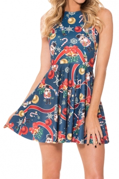 Navy Blue Christmas Printed Sexy Fashion Ladies Skater Dress