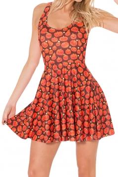 Orange Pumpkin Printed Sexy Fashion Ladies Skater Dress