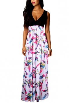 Rose Red Sexy V Neck Floral Printed Maxi Dress