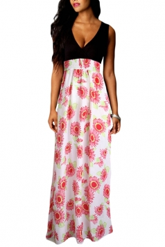 Red Sexy V Neck Floral Printed Maxi Dress