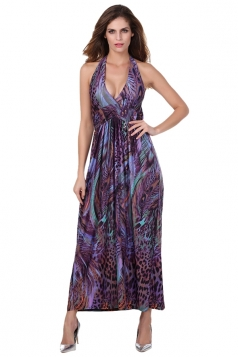Purple Dark Color Bohemian Style Maxi Dress