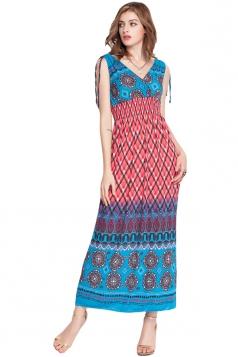 Watermelon Red V Neck Plaid Printed Exotic Womens Maxi Dress