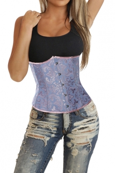Blue Jacquard Steel Button Sexy Ladies Under Bust Corset