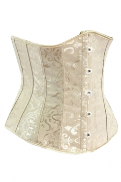 Beige White Jacquard Steel Button Sexy Ladies Under Bust Corset
