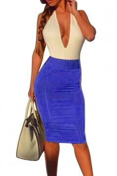 Blue Halter Deep V Neck Patchwork Backless Sexy Ladies Bodycon Dress