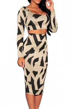 Beige Irregularly Printed Long Sleeve Sexy Ladies Skirt Suit