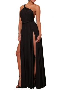 Black High Slit Backless Sexy Ladies One Shoulder Dress