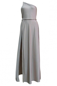 Gray High Slit Backless Sexy Ladies One Shoulder Dress