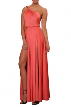 Pink High Slit Backless Sexy Ladies One Shoulder Dress