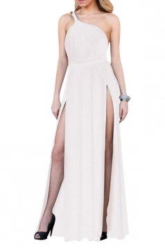 White High Slit Backless Sexy Ladies One Shoulder Dress