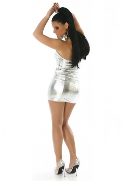 White Metallic Sexy Stylish Ladies Tube Dress