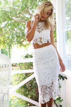 White Lace Trim Hollow Out Sheer Sexy Ladies Skirt Suit