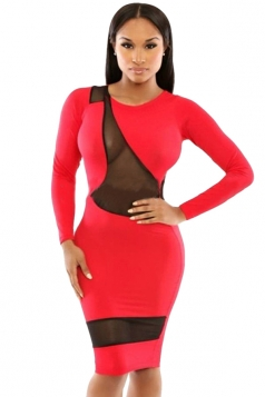 Red Mesh Patchwork Sexy Bodycon Womens Long Sleeve Dress