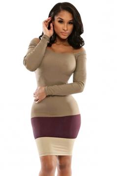Khaki Long Sleeve Sexy Chic Womens Bodycon Dress