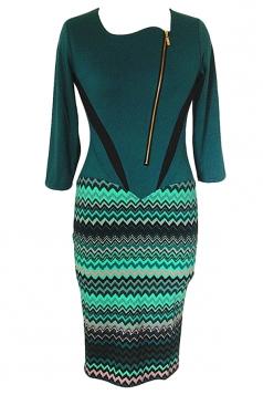 Green Elegant Patchwork Zipper Shift Dress