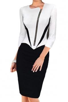 White Elegant Patchwork Zipper Shift Dress