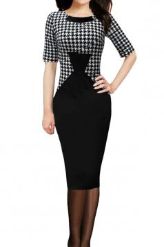 Black Houndstooth Patchwork Shift Dress