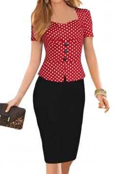 Red Polka Dot Patchwork Shift Dress