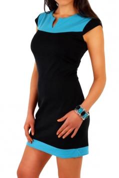 Blue Casual Patchwork Color Block Shift Dress