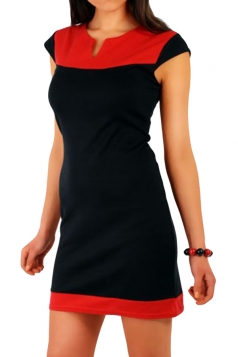 Red Casual Patchwork Color Block Shift Dress