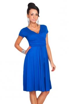 Sapphire Blue V Neck Pleated Sexy Charming Ladies Midi Dress