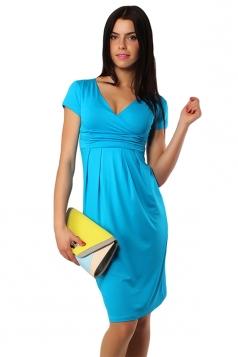 Blue Pleated V Neck Charming Womens Midi Dress