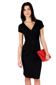 Black Pleated V Neck Charming Womens Midi Dress
