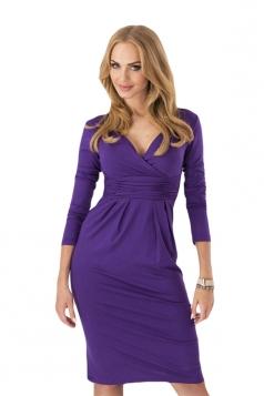 Purple Pleated V Neck Charming Womens Long Sleeve Dress
