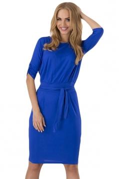 Sapphire Blue Sash Long Sleeve Charming Chic Womens Midi Dress