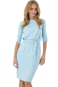 Turquoise Sash Long Sleeve Charming Chic Womens Midi Dress
