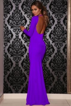 Purple Plain Backless Long Sleeve Sexy Charming Ladies Maxi Dress