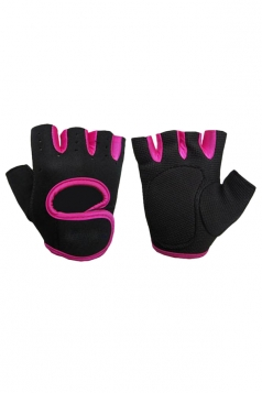 Rose Red Color Blocking Punching Chic Womens Sports Gloves