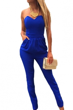 Sapphire Blue Plain Pleated Tube Sexy Womens Jumpsuit
