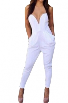 White Plain Pleated Tube Sexy Womens Jumpsuit