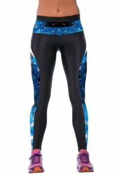 Blue Ladies Galaxy Printed Tight Sport Leggings Leggings