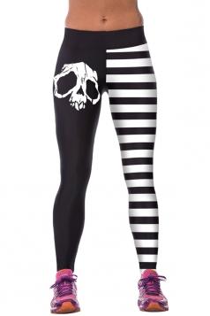 Black Ladies Skeleton Printed Sport Leggings