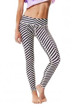 Black Ladies Striped Printed Sport Leggings