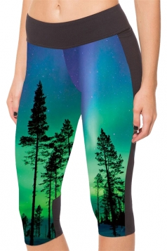Blue Trees Printed Side Pockets Ladies Cropped Leggings