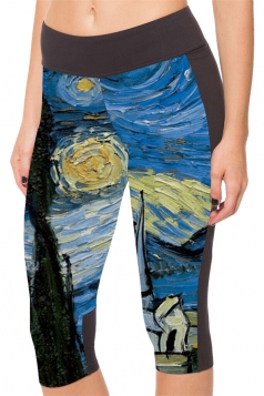 Blue Galaxy Printed Side Pockets Womens Cropped Leggings