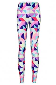 Pink Geometric Printed Slimming Sexy Womens Leggings