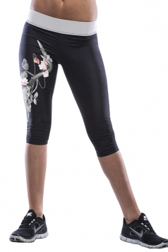 Black Floral Printed Sexy Chic Womens Cropped Leggings