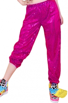 Rose Red Sequined Charming Chic Ladies Leisure Pants