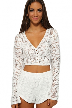 White Lace V Neck Cut Out Flare Sleeve Crop Sexy Ladies Pants Suit
