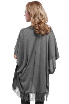 Gray Fringe Charming Stylish Ladies Plain Cardigan Sweater