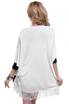 White Fringe Charming Stylish Ladies Plain Cardigan Sweater