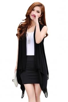 Womens Fringe Hollow Out Sleeveless Plain Cardigan Sweater Black