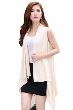 Womens Fringe Hollow Out Sleeveless Cardigan Sweater Beige White