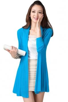 Blue Long Sleeve Charming Womens Plain Cardigan Sweater
