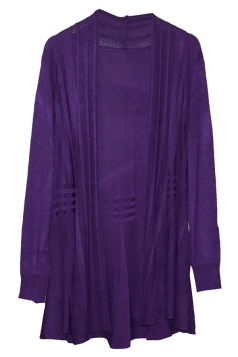 Purple Long Sleeve Charming Womens Plain Cardigan Sweater