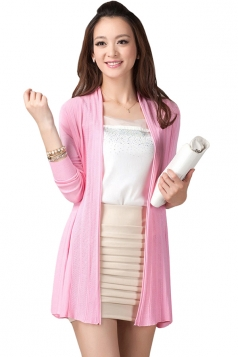 Pink Long Sleeve Charming Womens Plain Cardigan Sweater